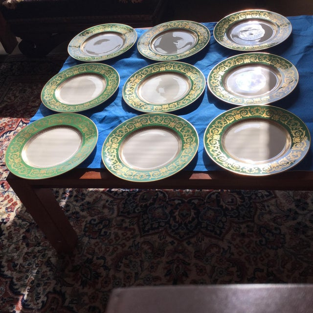 Set of 9 dinner/ charger K&A Krautheim Selb Bavaria china bought in an Auction. Appears unused. No loss of gold.
