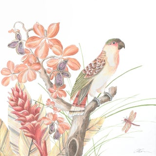 """The Early Bird"" Modern Chinoiserie Painting by Allison Cosmos For Sale"