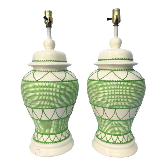 Green & White Hollywood Regency Table Lamps - A Pair - Image 1 of 5