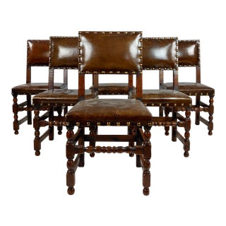 Spanish Revival Brown Leather Upholstered Dining Chairs - Set of 6 For Sale