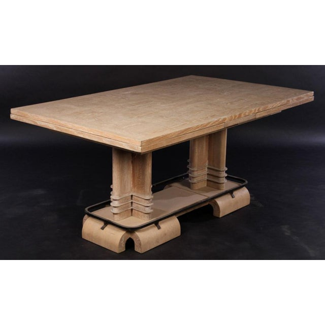 Art Deco Frank Lloyd Wright Style French Art Deco Cerused Oak Dining Table For Sale - Image 3 of 8