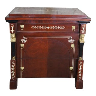 Egyptian Revival 3 Drawer Chest Neoclassical Side Table For Sale