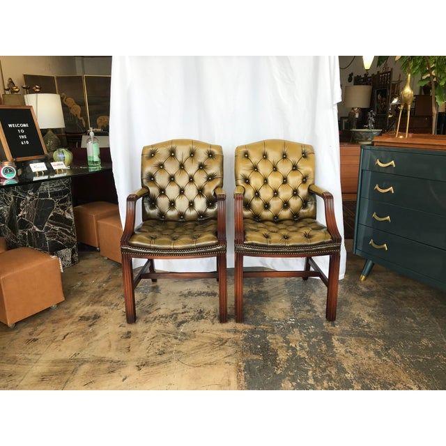 Chesterfield Guest Chairs - a Pair For Sale - Image 11 of 11