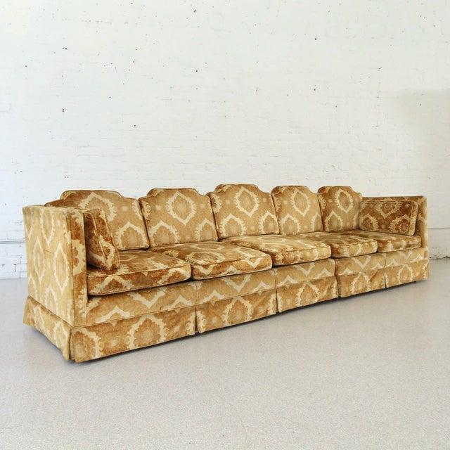 1970s Vintage Damask Two-Piece Velvet Sofa For Sale - Image 4 of 10