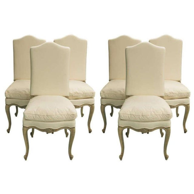 Set of Six 19th century Louis XV dining chairs with new upholstery in muslin fabric and down/feather seat cushion.