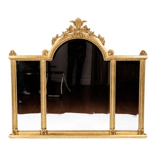 Giltwood Framed Beveled Hanging Wall Mirror For Sale