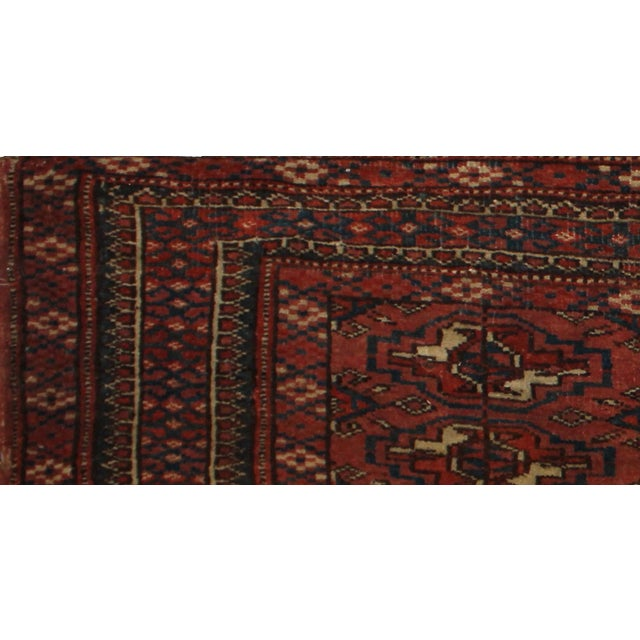 "Traditional Antique Hand Knotted Turkmen Yomut Rug - 1'3"" x 3'3"" For Sale - Image 3 of 5"