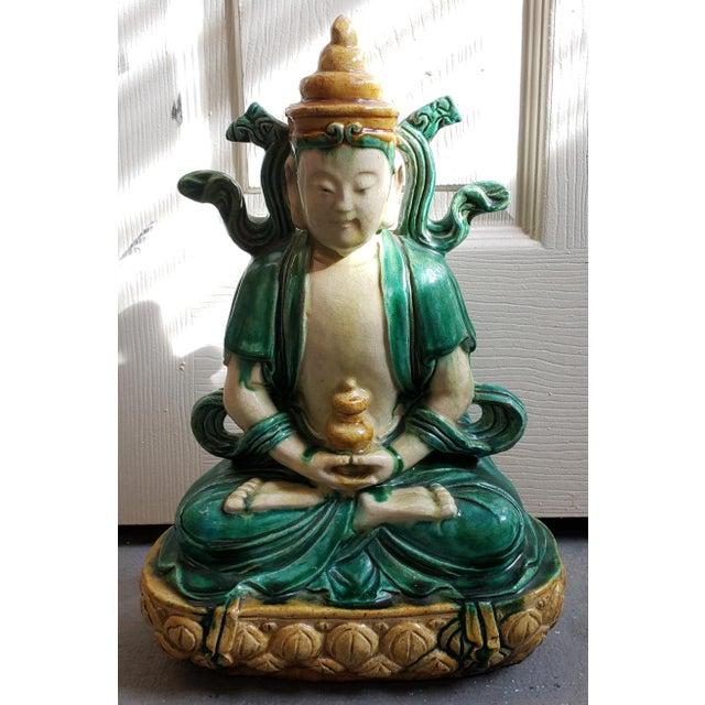 Clay Early 20th Century Chinese Buddha on Lotus Throne Sancai Glazed Clay Sculpture For Sale - Image 7 of 7