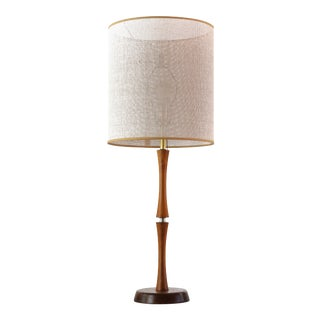 Mid-Century Danish Brass and Teak Table Lamp, 1950s For Sale