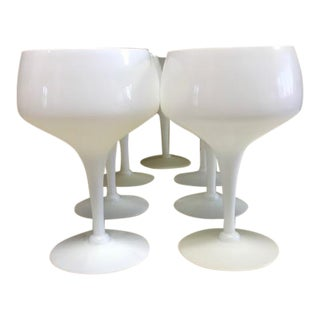 1960s Mid-Century White Opaline Crystal Wine Glasses - Set of 7 For Sale