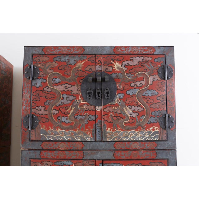Chinese Polychrome Decorated Compound Dragon Cabinets - a Pair For Sale In San Francisco - Image 6 of 13