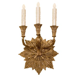 Carved Italian Gilt-wood Three Arm Sconce by randy Esada Designs For PROSPR For Sale