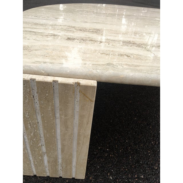 1980's Brutalist Travertine Marble Coffee Table For Sale - Image 10 of 12