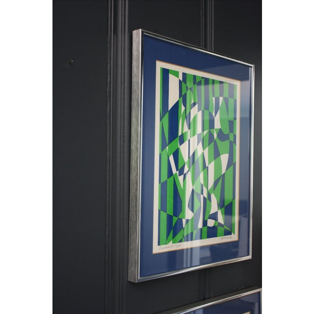 1970s Op Art Blue and Green Serigraphs - A Pair - Image 9 of 11