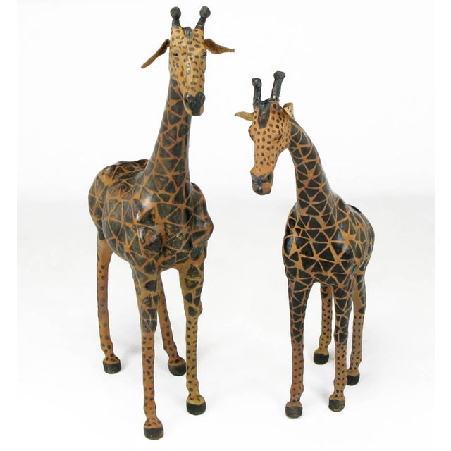 Pair of Leather Giraffe Models - Image 2 of 4