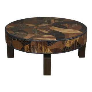 """1990s Modern Round """"Carnival"""" Exotic Inlay Coffee Table For Sale"""