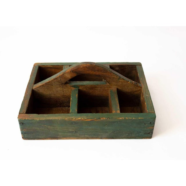 Shabby Chic Rustic Forest Green Berry Carrier For Sale - Image 3 of 8