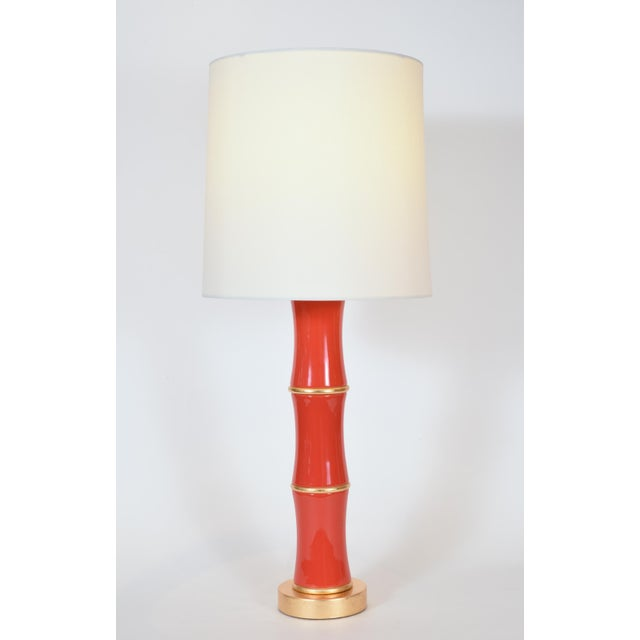 Contemporary Orange Porcelain Table Lamp With Gold Wood Base - a Pair For Sale - Image 3 of 9