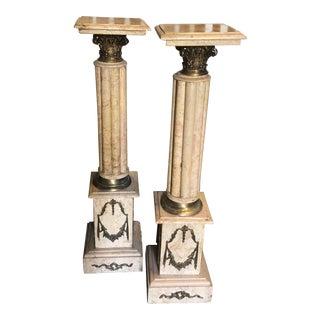 19th Century Marble & Bronze Pedestals Columns-a Pair For Sale