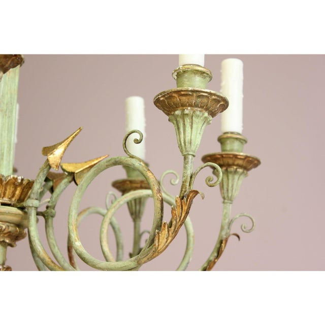 1960s Italian 1960s Vintage Painted and Parcel-Gilt Chandelier For Sale - Image 5 of 9