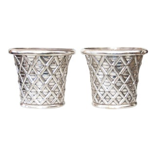 Antique 19th-Century English Silver Plated Cachepots Planters - a Pair For Sale