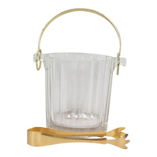 Vintage 1960s Mid-Century Modern Italian Crystal & Bronze Handled Ice Bucket For Sale