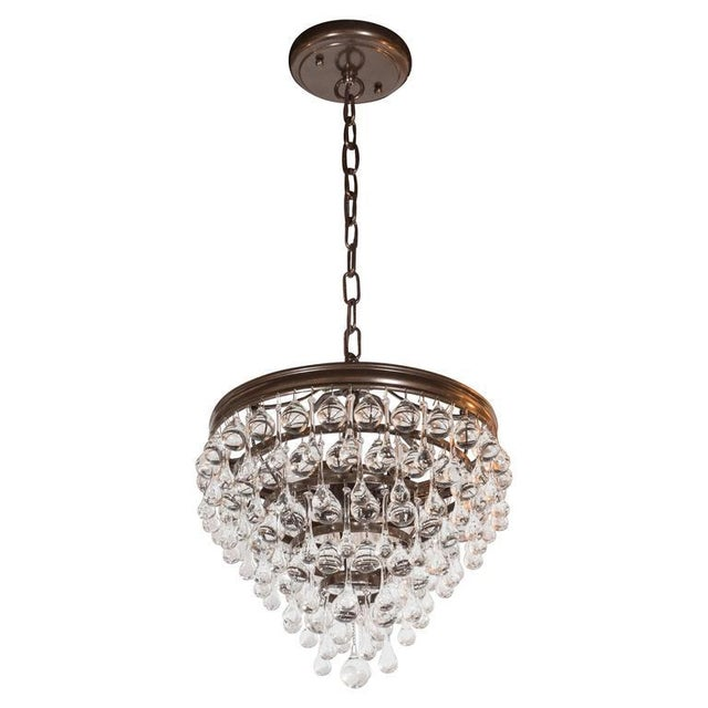 Hollywood Regency Crystal Teardrop and Ball Chandelier with Bronze Fittings For Sale - Image 10 of 10