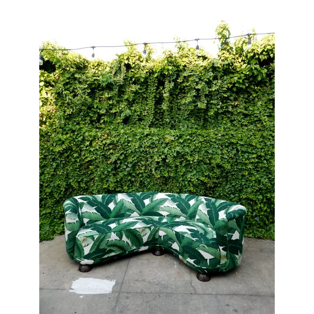 Palmier Curved Art Deco Sofa For Sale - Image 9 of 11