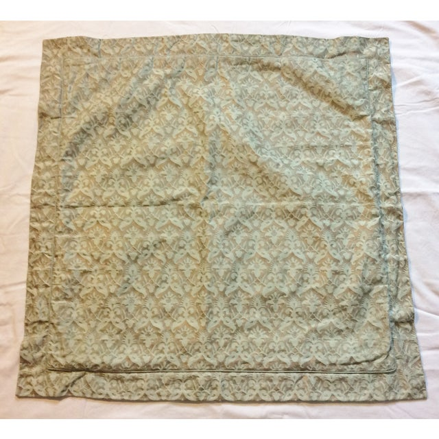 Aged Fortuny Fabric Euro Shams - Pair - Image 2 of 6
