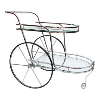 Hollywood Regency Large Wheel Chrome and Glass Bar Cart For Sale