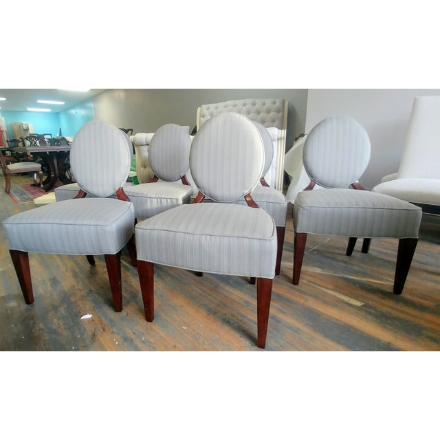 Mid-Century Modern Henredon Furniture Barbara Barry Walnut Oval Back Side Chairs - Set of 6 For Sale - Image 3 of 11