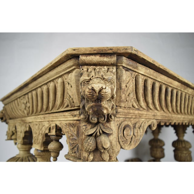 19th-C. French Bleached Oak Library Table - Image 8 of 11