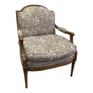French Inspired Reupholstered Armchair For Sale