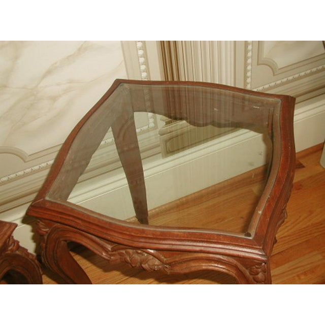 French 19th C. Walnut & Glass Tables - Image 3 of 7