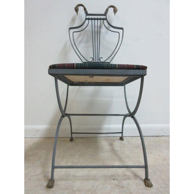 Brass Vintage Lyre Harp Regency Side Chair For Sale - Image 7 of 11
