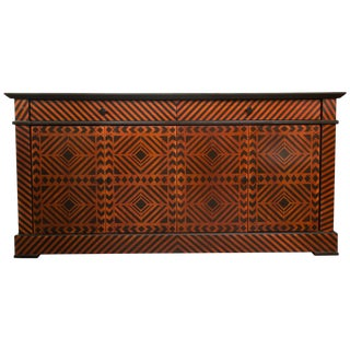 Geometric Pattern Decorated Sideboard Credenza For Sale