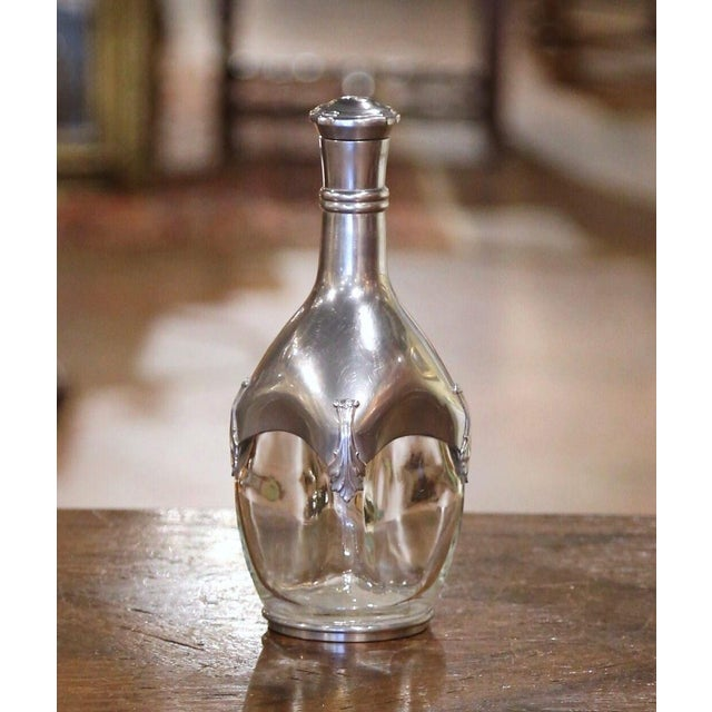 Silver Early 20th Century French Blown Glass and Repousse Pewter Wine Carafe Decanter For Sale - Image 8 of 8