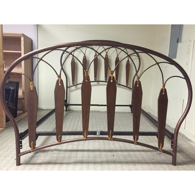 Native American Inspired Metal Wood Leather Full Bed - Image 7 of 10