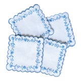 Image of Hand Embroidered Blue Floral Cocktail Napkins, Set of 4 in Gift Box For Sale