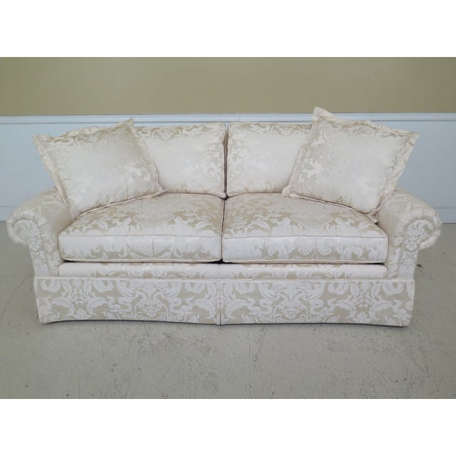 Modern Ej Victor Silk Damask Upholstered Sofa For Sale - Image 11 of 11