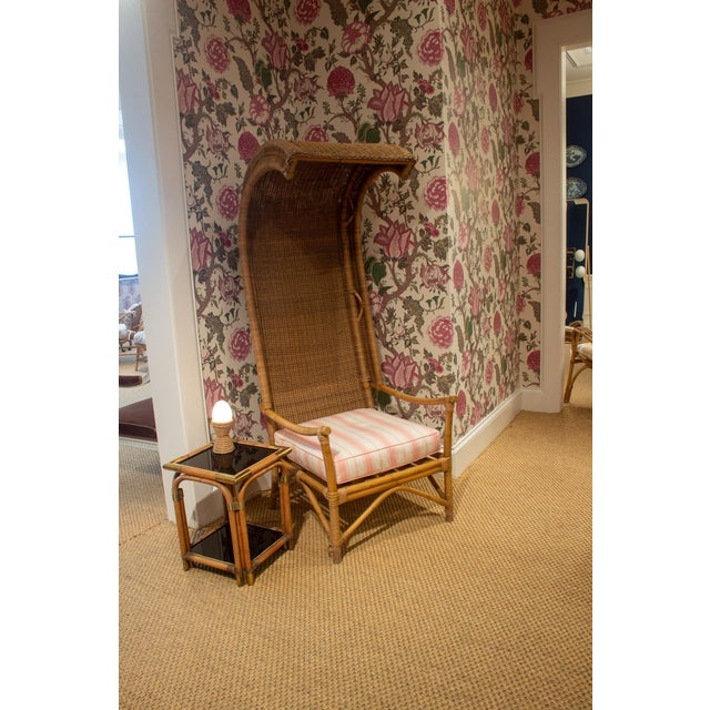 Late 20th Century Wicker and Bamboo Canopy Chair For Sale In Chicago - Image 6 of 7