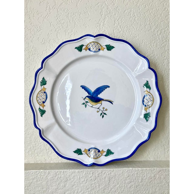 1980s Scalloped Border Hand Painted Bluebird Earthenware Platter Made in the Philippines For Sale - Image 11 of 12