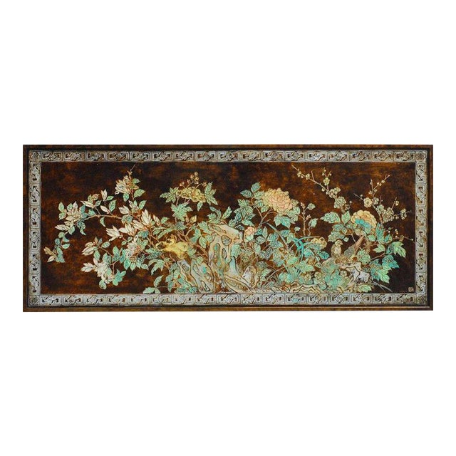 Chinese Floral and Foliate Painted Relief Panel For Sale