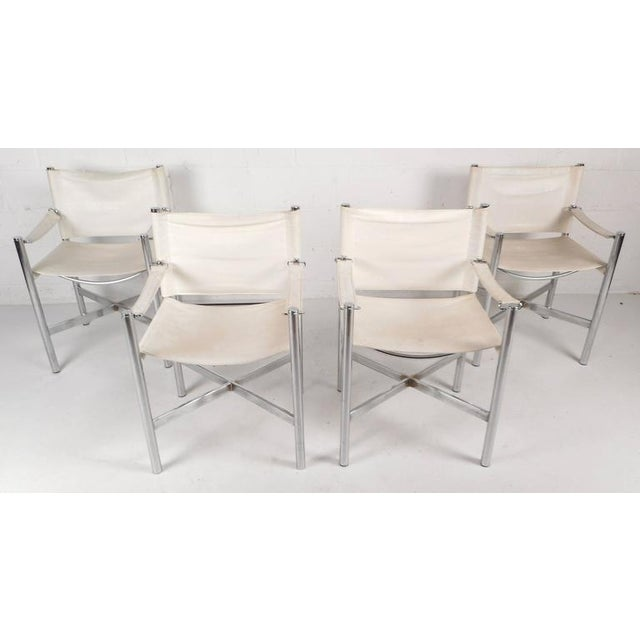 Mid-Century Modern Chrome X-Base Dining Set For Sale In New York - Image 6 of 10
