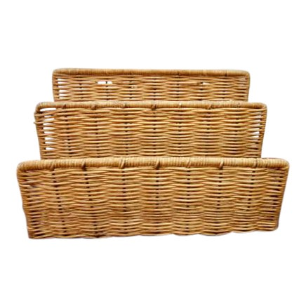 Vintage Wicker Paper Sorter Mail Organizer - Image 1 of 4