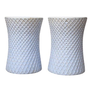 Light Blue Garden Stools - A Pair For Sale