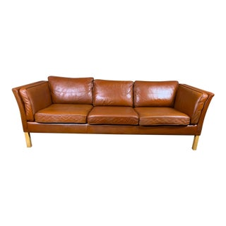Vintage Stouby Mid Century Danish Modern Leather 3 Seat Sofa, British Tan For Sale