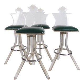 Set of Mid-Century Modern Lucite Barstools For Sale