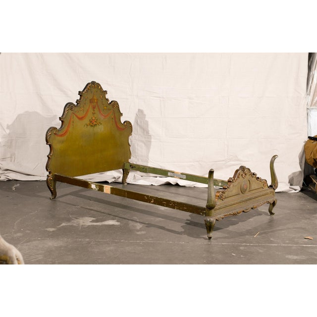 """Pair of 18th-19th century Venetian style twin beds. With headboard, foot board, rails. Dimensions outside: 50.5""""W X 82""""D X..."""