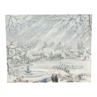 Alex Way Mid-Century American Painting of Snowscape, Central Park For Sale